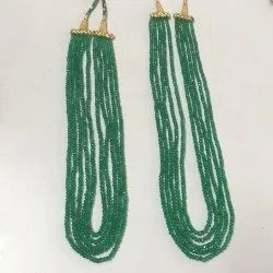Natural Green Onyx Faceted Rondelle 3-4mm Beads Necklace