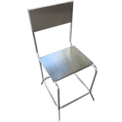 Silver Polished Stainless Steel Non Foldable Chairs, For Cafe