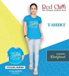 Round Red Chilli Ocean Blue T-Shirt For Women