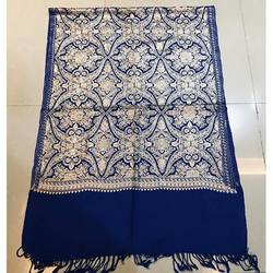 Blue Embroidered Ladies Stole