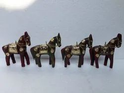 4 Set Of Wooden Horses With Metal Fitted, Standing Wooden/Metal Horse, Handicraft Decorative Items