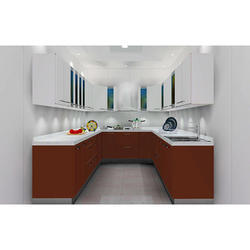 Brown U Shaped Modular Kitchen