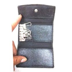 Plain Black Leather Key Pouch