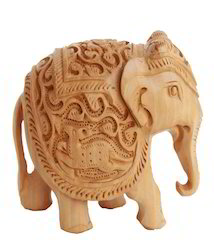 Brown Wooden Carving Elephant Statue