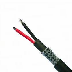 Black Aluminium Armoured Cable, 2 Core, Size: 1 Sqmm