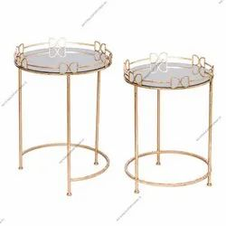 Metal Round Table With Mirror Top Set Of 2