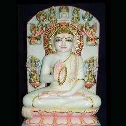 Raja Ji Art Gallery Multicolor White Marble Lord Buddha Statue