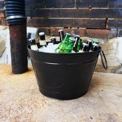 Galvanized Steel Black Powder Coat Wine Cooler Champagne Bucket Party Tub