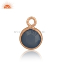 Blue Chalcedony Gemstone Rose Gold Plated Silver Charm Finding Jewelry