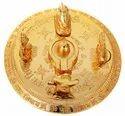 Kesar Zems Brass Lord Shiv Parivar Idol (9 cm x 9 cm x 4 cm, Gold)
