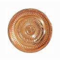 Golden Om Engraved Copper Pooja Plate