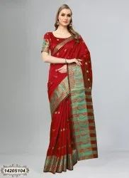 Mulberry Silk With Heavy Jacquard Weaving Border Saree