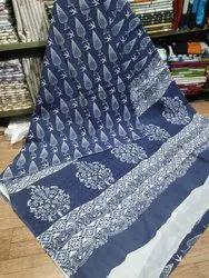 Bagru Hand Block Indigo Dabu Print Cotton Saree