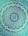 Blue Floral Ombre Mandala Hippie Cotton Beach Tapestry Yoga Mat
