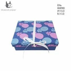 Handmade gift box, Blue gift box, sky blue and pink pineapple print, white ribbon