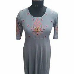 Grey Casual Wear Ladies Designer Floral Kurti