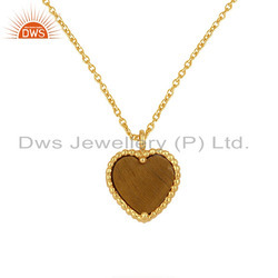 Tiger Eye Yellow Gold Plated 925 Silver Heart Chain Pendant