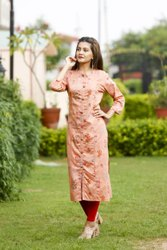Hand Embroidered Peach Rayon Slub Straight Long Kurti