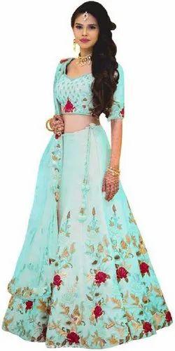 c7746049b4 Semi-Stitched Gorgeous Rama Color Embroidered Semi Stitched Lehenga Choli,  Size: Free, Rs 999 /piece | ID: 20958834697
