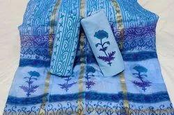 Bagru Printed Dress Material With Kota Silk Border Dupatta