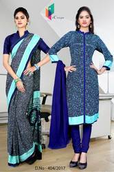 Grey and Navy Blue Italian Crepe Uniform Saree Kurti Combo