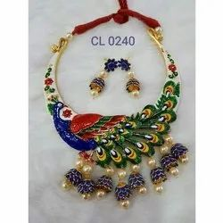 CL code Meenakari Peacock Pacchi Hasli Fashion Jewellery Choker Necklace & earrings Set