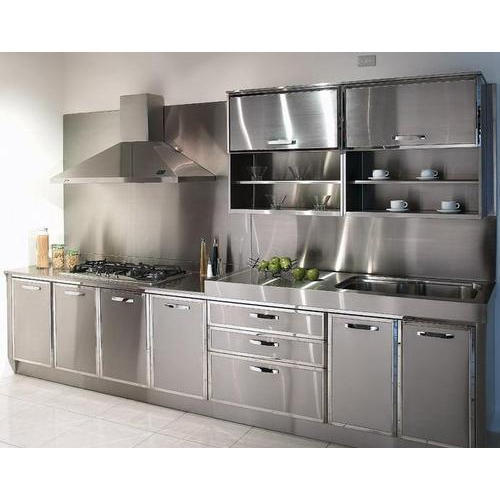 Silver Stainless Steel Modular Kitchen, Rs 2175 /square feet ...
