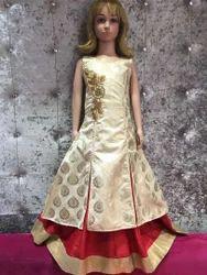 Silk Party Wear Designer Indo Western Dress, 6-18 Years