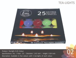 Tea Light 9-25 Color Candles