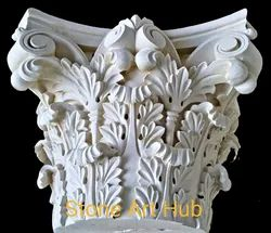 Marble Hand Carved Column Capital