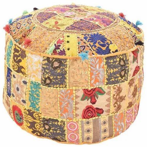 Tremendous Pouf Covers Hand Block Print Indigo Ottoman Pouf Cover Frankydiablos Diy Chair Ideas Frankydiabloscom