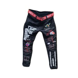 Slim Fit Casual Wear Mens Black Printed Denim Jeans, Waist Size: 28-36 and 30-36