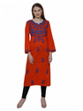 GOHANDICRAFT??? Brick-Red Lucknawi Chikan Cambric Kurti