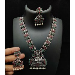 Ladies Oxidized Silver Necklace Set