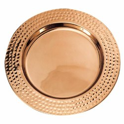 Hammered Rim Copper Charger Plate