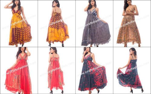 ea307cc4b935 Polycrepe Party Wear Indian Ethnic Hippie Boho Poly-silk Crepe Long Maxi  Dress