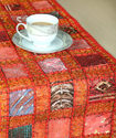 Cotton Patch Work Beaded Table Runner