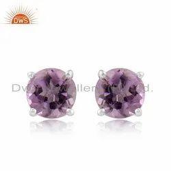 Prong Set Amethyst Gemstone Sterling Fine Silver Tiny Stud Earrings