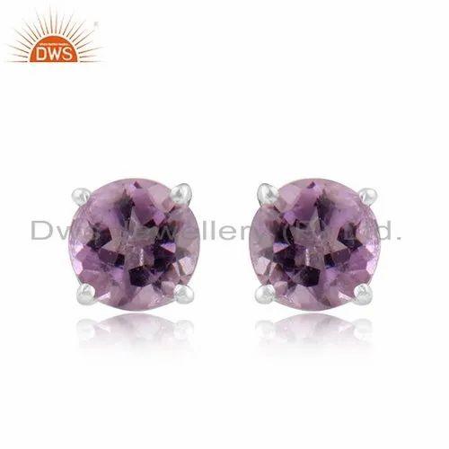 DWS Prong Set Amethyst Gemstone Sterling Fine Silver Tiny Stud Earrings