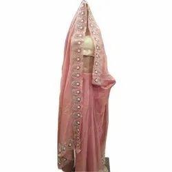 Mann Enterprises 5.5 m (separate blouse piece) Stone Hand Work Chanderi Saree, With Blouse Piece