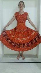 Mandala Red Cotton Maxi Dress