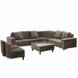 Suede Fabric L Shape Sofa Set
