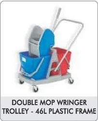 46 Ltr Plastic Frame Double Mop Wringer Trolley