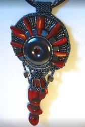 Red Coral And Hematite Seed Beaded Pendant