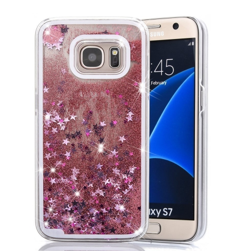 new arrival 7c648 fc879 Liquid 3d Shinning Glitter Star Back Cover For Samsung Galaxy S7 Rose Gold