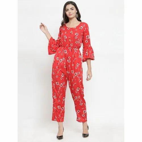 Darzi Crepe Ladies Printed Jumpsuits, Size: M, Rs 299 /piece Laxmi Traders  | ID: 20998710812
