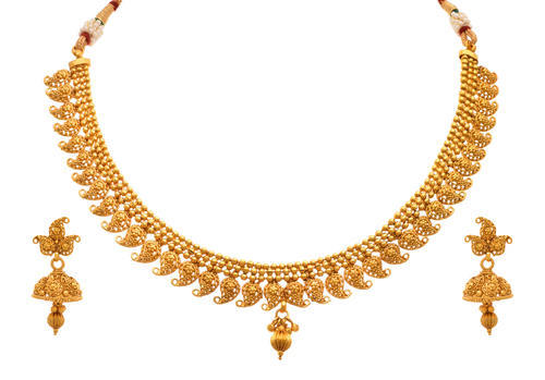 Jfl Gold Plated Kaerie Necklace Set With Earring Size 9 5 Cm