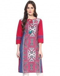 Cotton Abstract print 3/4th Sleeves Blue Kurti