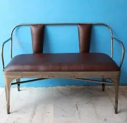 ND Art Export Contemporary MS Iron and PU Leather 2 Seater Sofa