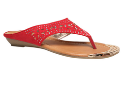 Synthetic Red Bata Women's Flats Chappals
